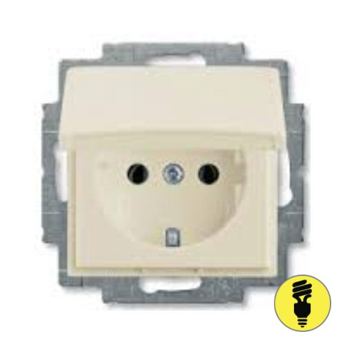 Розетка ABB Basic 55 заземление, крышка 16A (слоновая кость)