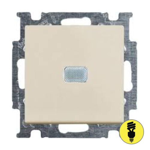 Выключатель ABB Basic 55 1-клавишный, подсветка (слоновая кость)
