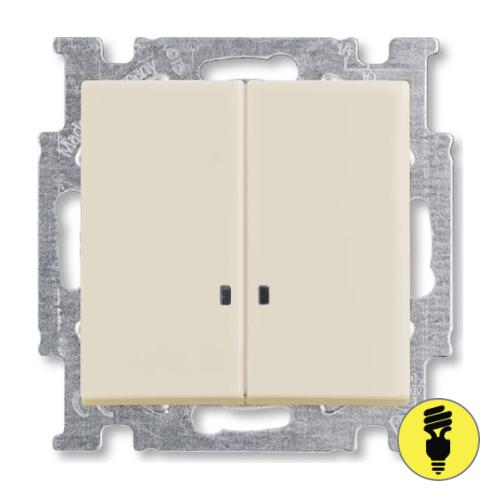 Выключатель ABB Basic 55 2-клавишный, подсветка (слоновая кость)