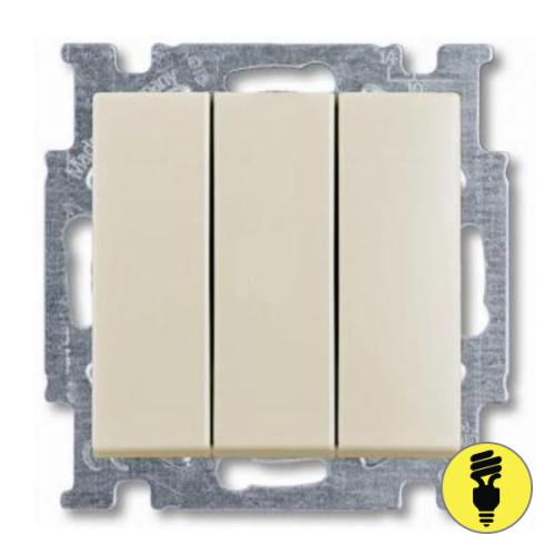 Выключатель ABB Basic 55 3-клавишный (слоновая кость)