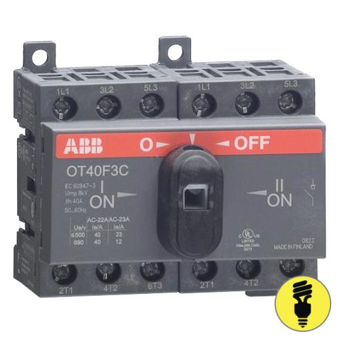 Реверсивный выключатель нагрузки АВВ OT40F3C 3P 40A