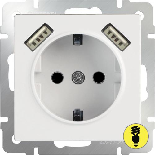 WL01-SKGS-USBx2-IP20 / Розетка с /з со шторками и USB Werkel, Белая