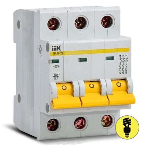 Автоматический выключатель IEK ВА47-29 3P 50А