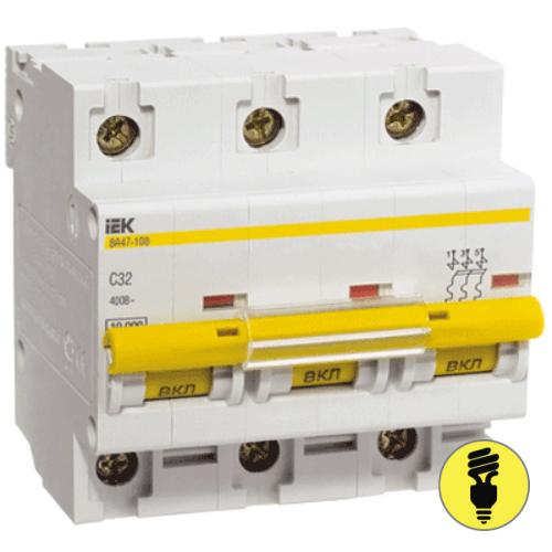 Автоматический выключатель IEK ВА47-100 3P 100А