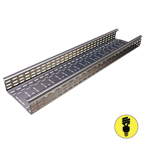 Кабельный металлический лоток перфорированный 300х60х3000 (0,8 мм)