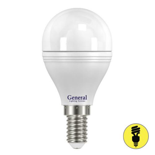 Светодиодная лампа General шар 7Вт E14 2700К