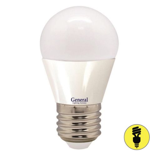 Светодиодная лампа General шар 7Вт E27 2700К