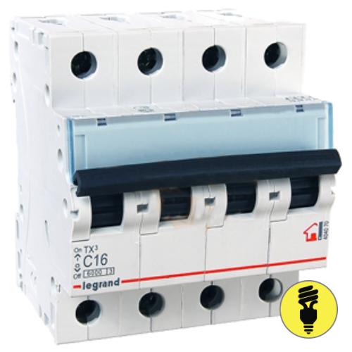 Автоматический выключатель Legrand TX3 C 63А 4P 404076