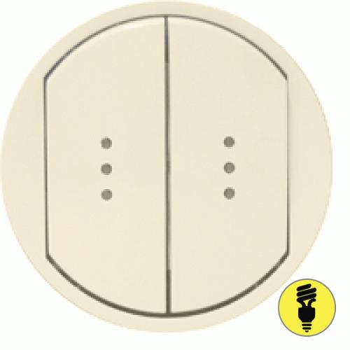Лицевая панель для выключателя Legrand Celiane 2-клав, подсветка, слоновая кость, 66211