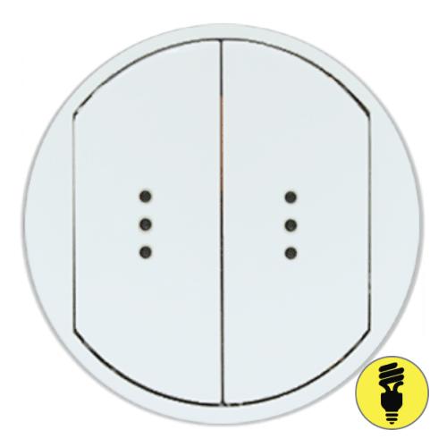 Лицевая панель для выключателя Legrand Celiane 2-клав, подсветка, белая, 68004