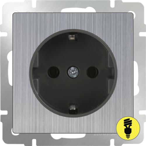 WL02-SKG-01-IP20 / Розетка с/з без шторок Werkel, Глянцевый никель