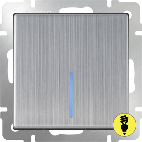 WL02-SW-1G-LED / Выключатель 1-клавишный с подсветкой Werkel, Глянцевый никель