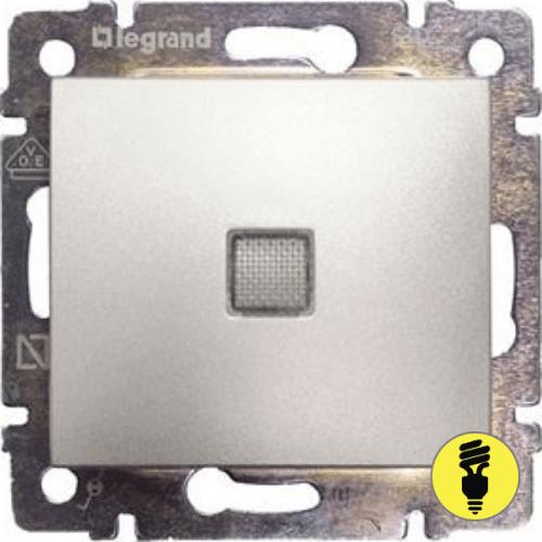 Выключатель Legrand Valena 1-клавишный, промежуточный с подсветкой (алюминий) 770148