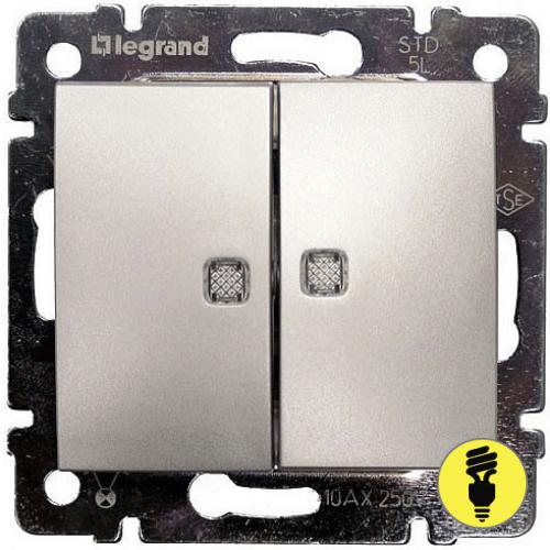 Переключатель Legrand Valena 2-клавишный с подсветкой (алюминий) 770212