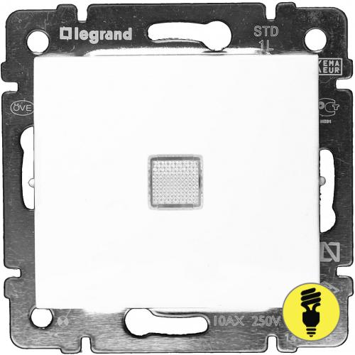 Выключатель Legrand Valena 1-клавишный с подсветкой (белый) 774410