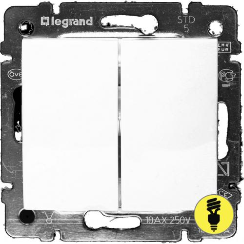 Выключатель Legrand Valena 2-клавишный (белый) 774405