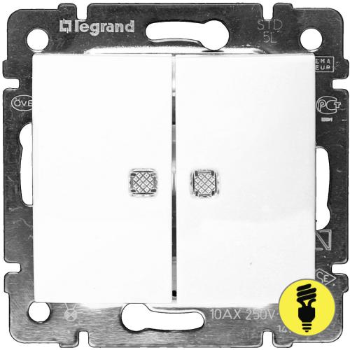 Выключатель Legrand Valena 2-клавишный с подсветкой (белый) 774428