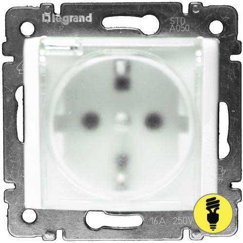 Розетка Legrand Valena IP44 с заземлением, крышкой (белая) 774220