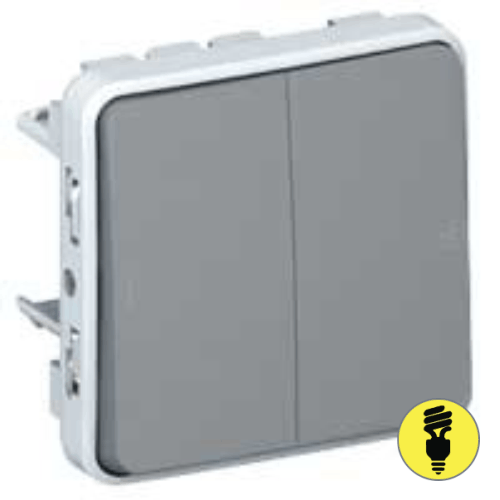Переключатель 2-клавишный Legrand Plexo IP55, Серый, 069525
