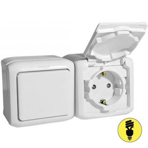 Блок выключатель + розетка Legrand Quteo IP44 белый 782318