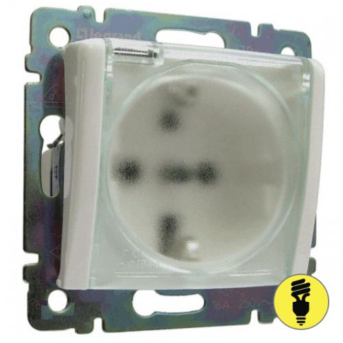 Розетка с заземлением, со шторками, с крышкой IP44 Legrand Galea Life - белый