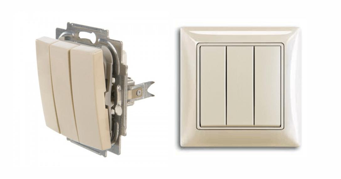3 клавишный выключатель АББ серии Basic 55