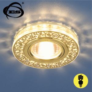 Хрустальный точечный светодиодный светильник Elektrostandard 6034 MR16 GD/CL золото/прозрачный