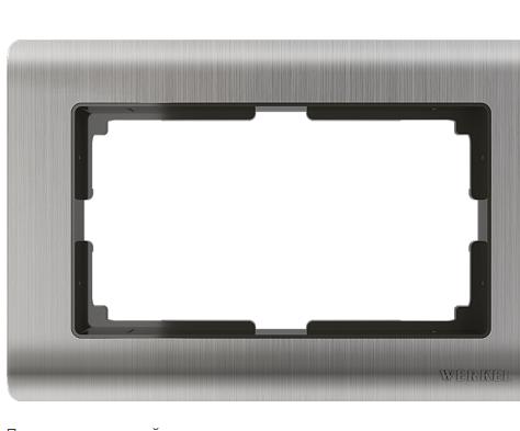 WL02-Frame-01-DBL / Рамка для двойной розетки Werkel Metallic, Глянцевый никель