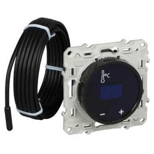 Термостат комнатный с сенсорным дисплеем, Темный, серия Odace, Schneider Electric
