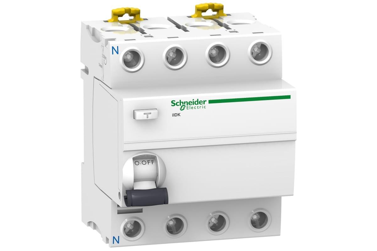 Дифференциальный выключатель нагрева Schneider Electric Acti 9 iID K 4П 25A 300mA AC-тип SE A9R75425
