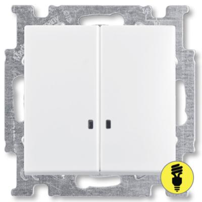Выключатель ABB Basic 55 2-клавишный, подсветка (белый)