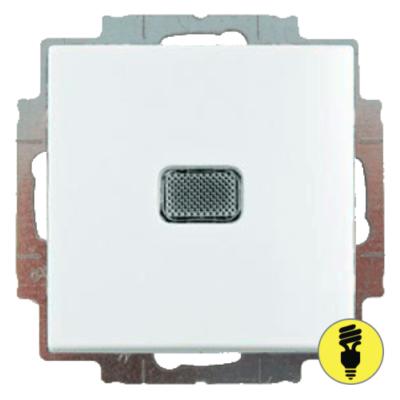 Выключатель ABB Basic 55 1-клавишный, подсветка (белый)