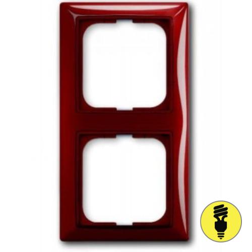 Рамка ABB Basic 55 2-постовая - фойе (красный)