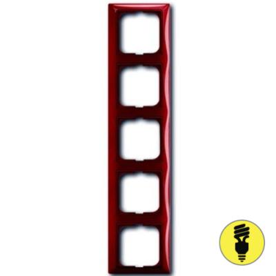 Рамка ABB Basic 55 5-постовая - фойе (красный)