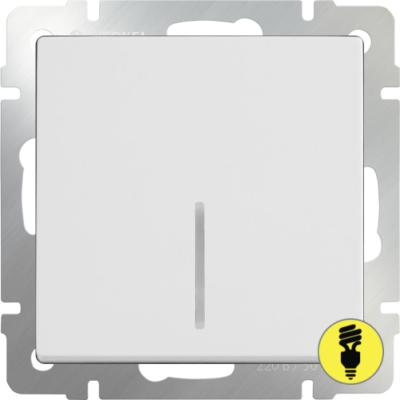 Выключатель Werkel 1-клавишный с подсветкой (белый)